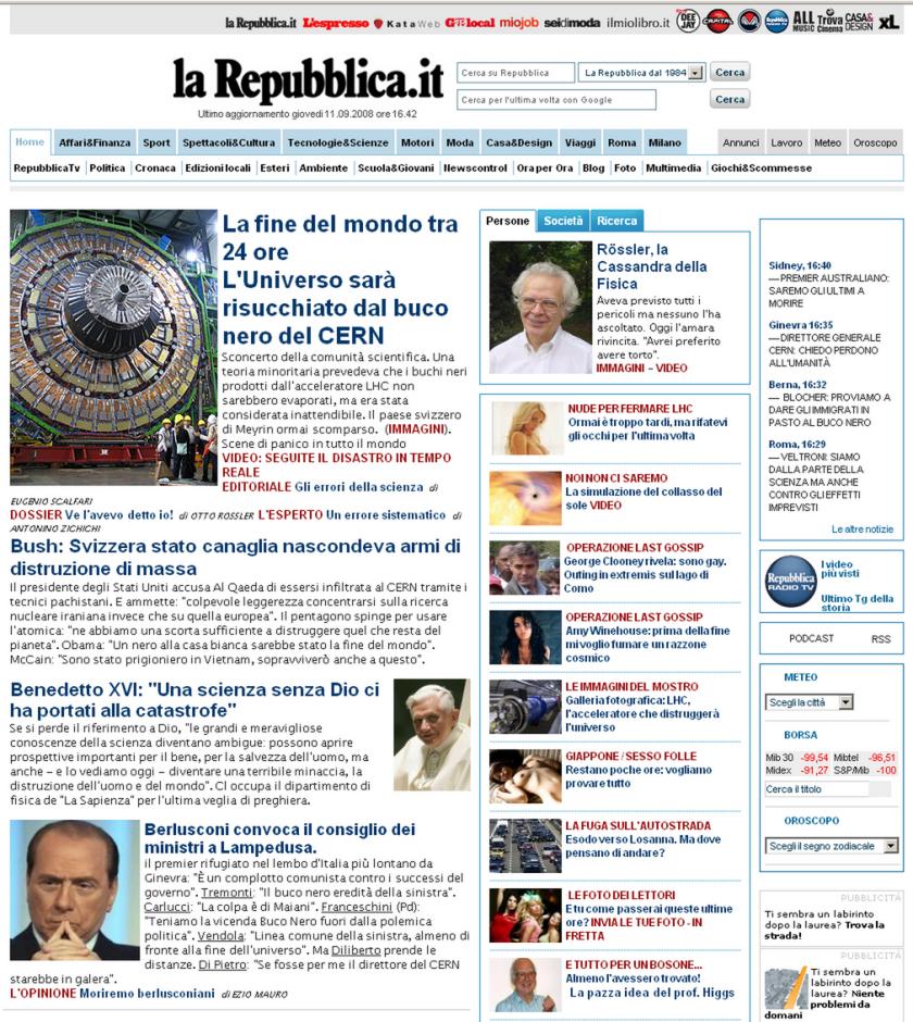L'home page per la fine del mondo ;)